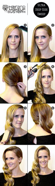 Top Pinner @Stephanie Close Brinkerhoff Ultra Deep Side Sweep Step-by-Step for Prom, Weddings, or the Weekend! Steps via blog.hairandmakeupbysteph.com #Sephora