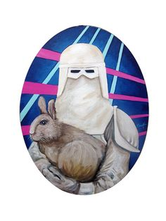 Snowshoe Trooper 11x14 oval acrylic on canvas by tramplamps, $185.00