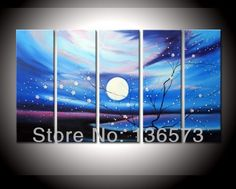 Handmade 5 piece Large Canvas Art Cheap Blue White Full Moon Flower Natural Scenery Oil Paintings Modern Abstract pictures decor