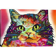 "Canvas wall art with a graffiti-inspired cat motif. Made in the USA. Med. $44 Product: Wall artConstruction Material: Cotton canvas and pine woodFeatures:  Made in the USAReady to hang Dimensions: Medium: 18"" H x 26"" W x 0.75"" D Large: 26"" H x 40"" W x 0.75"" D"