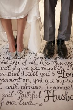 metallic urban wedding inspiration, silver glitter heels, calligraphy vows