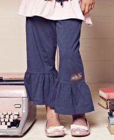 Navy ruffle pants
