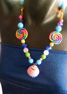 Neon Rainbow & Pink Lollipop and Cupcake Necklace. $20.00, via Etsy.