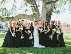 Bridesmaids in black by All You need is Love Events at Ojai Valley Inn and Spa