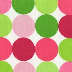 Big bright pink and green polka fabric, fashion dot fabric, Jumbo pink and green polka dot, large pink green dot fabric,