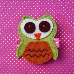 Owl Felt Hair Clip Lime Green
