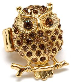 BIG Owl Stretch Ring Amber Crystals Gold Tone