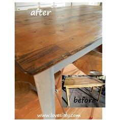 Save Money!  DIY:: EASY WAY TO FLIP your dining table top into a  a rustic, reclaimed look.
