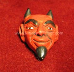 Large Grinning Red Devil Head Bead