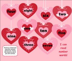 Valentine Heart Number Words SMART BOARD Game