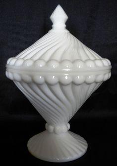 Westmoreland Glass Swirl and Ball Milk Glass Candy Jar