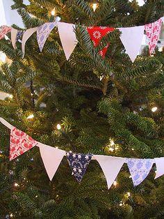 holiday, diy garland, flags, flag garland, christma tree