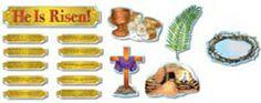 risen, easter classroom, bulletin boards, activ guid, scriptur card, easter imag, 10 scriptur, banner, board set