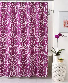 Trina Turk Bath, Ikat Shower Curtain - if you go this bold, maybe more neural towels?