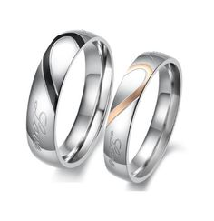 "BESTSELLER! Stainless Steel 18k Rose Gold Plated ""Real Love"" Engraved Couple Rings Set for Engagement, Promise, Eternity R005 (His Siz... $14.99"