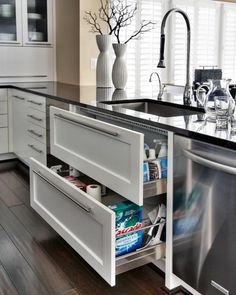 Sink drawers instead of cupboards: need more of these! They hold a ton of stuff! Easier to get at, too!