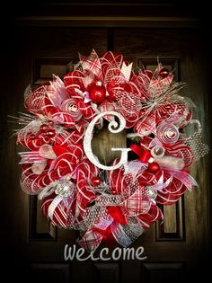 Christmas Red,Silver and White Wreath.