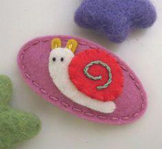 NO+SLIP+Wool+felt+hair+clip+Sam+the+snail+old+pink+by+MayCrimson,+$7.00