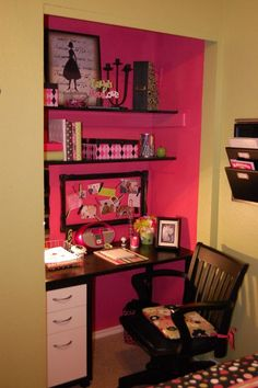 Turning a small closet into a desk area. Like this idea. Love that it is a different color than the room.