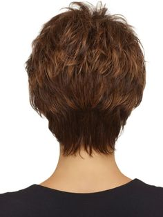 BACK - a classic short textured cut. Razored layers create volume and lift at the crown. Soft wispy bangs and sides frame the face perfectly. And extended nape hugs the neck and creates a modern silhouette.