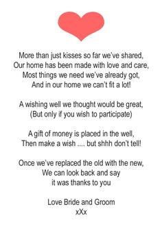 Poems For Wedding Gifts To Ask For Money For A Honeymoon : 50 WEDDING MONEY POEM CARDSSMALL HEART PO#ANV3
