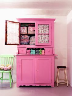 pastel, storage spaces, fabric storage, china cabinets, color, pink, craft storage, yarn storage, craft rooms