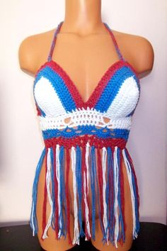 Crochet Color of Flag Fringe Halter Tank Top Crochet Top by vikni, $47.00