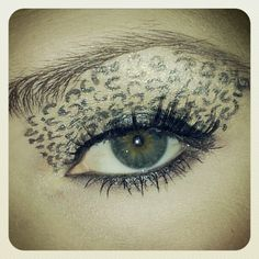 Leopard print makeup.