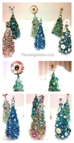 Bottle Brush Trees with Vintage Buttons |