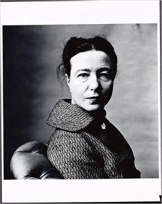 // Simone de Beauvoir, Paris, 1957. Shot by Irving Penn.
