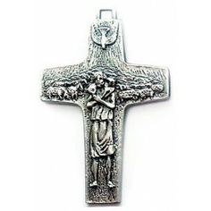 Official Cross of Pope Francis   Also known as the Papa Francisco cross or Papa Francesco cross, it depicts Christ the Good Shepherd carrying the lost sheep on his shoulders, with the flock in the background. At the top is the Holy Spirit in the form of a dove.