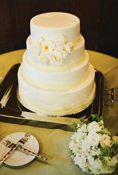 Modern White Wedding Cake with Fondant Flowers