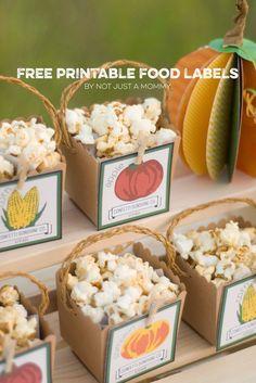 free fall harvest themed treat box label