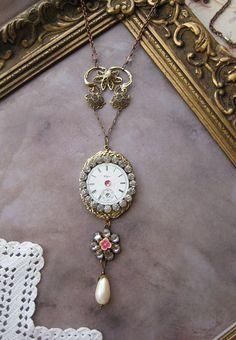 Victorian Necklace Antique steampunk Pocket Watch Parts RHINESTONES Pink and Pearls golden