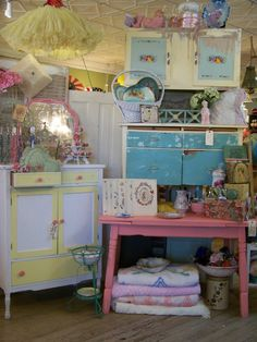 Candy colored antique booth...
