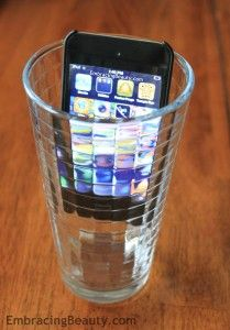 Put you iphone in a glass for instant amplification that will fill the room with music!