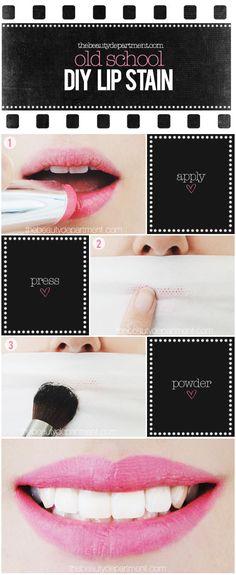 old school lip stain