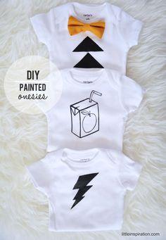 DIY Painted Onesies Tutorial. Great Baby Shower Idea, #Christmas Gift