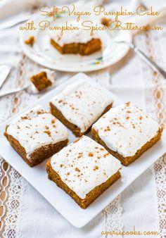 Soft Vegan Pumpkin Cake with Pumpkin Spice Buttercream Frosting