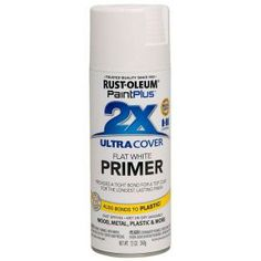Rust-Oleum Paint Plus 12-oz. 2x Spray Flat White Primer Primer-265131 at The Home Depot