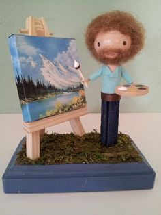 Bob Ross Happy Little Clothespins clothespin-dolls