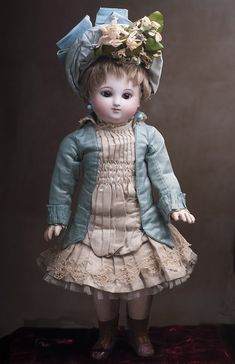 Antique Gorgeous French Bisque Bebe Steiner Doll, Rare Series A Model , sweet cabinet size