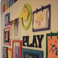 Clothespins on frames to display kids artwork!! Love this <3