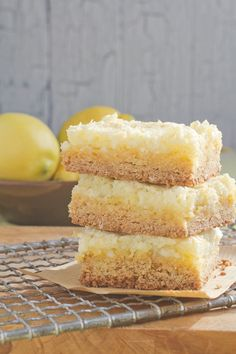 One of my MOST favorite desserts my mom use to make. I haven't had them in forever!!!   lemon chess squares