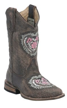 Roper® Kids Sanded Brown with Silver Heart Underlay Square Toe Cowboy Boots