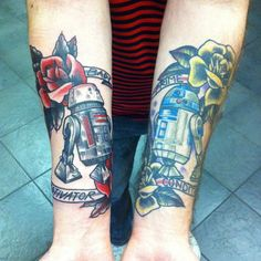Are these the 'Droids you're looking for? Great #StarWars #tattoo of the R5-Series #Astromech and R2-D2. #r2d2 #tattoos #robot #robots