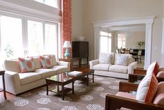 Coastal Living, great drapery treatment for huge windows, coral and turquoise