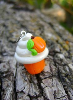 Pumpkin Cupcake Charm, Polymer Clay