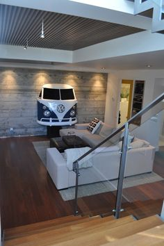VW bus front mounted to wall.