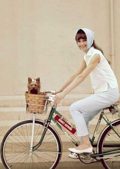 audrey hepburn and a sweet dog in the basket!